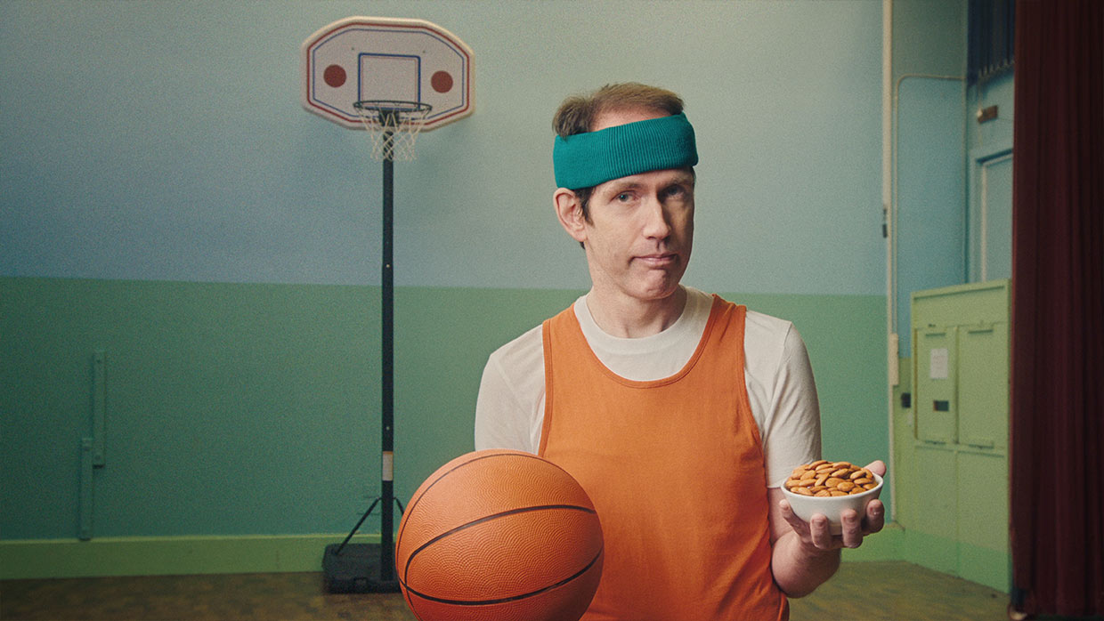 Weird basketball player eating almonds